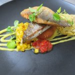 Pan Fried Sea Bass, Sweetcorn Puree, Potato Croquette, Tomato Salsa