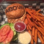 Salmon burger with sweet potato fries