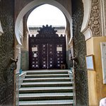Front door to Boua Nania Medersa on the Talaa Kebira.
