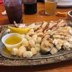 Fish platter including Rock Shrimp and scallops