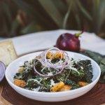 seasonal kale caesar salad