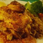 SPICED FISH FILET Filet of seasonal fish stuffed with a crabmeat, baked and topped with Cajun sh