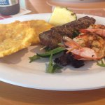 Steak and shrimp skewers with tostones were amazing! Delicious lunch