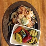 Bourbon street chickent and shrimp with grilled vegetables