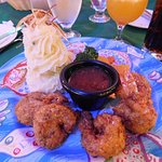 Coconut shrimp and mashed potatoes!
