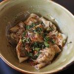 """Sichuan """"Working Hands"""" Dumplings, Sesame Butter, Peppercorn-Chili Broth"""