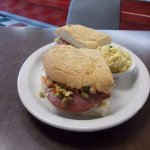 Enclade's, Pueblo CO. 1/2 of a Muffuletta w potato salad.