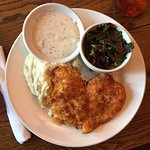Fried chicken, mashed potatoes, gravy, and collar greens. Delicious.