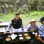 The kids enjoyed a pancake breakfast after a morning trail ride