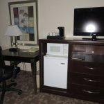 Desk, armoire, mini-refridge, microwave, flat screen