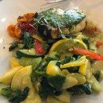 Sword fish w/pesto sauce and vegetables
