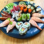 Special mix plate: Sashimi mix, Nigiri mix, dragon, california