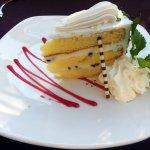 a piece of cannoli cake