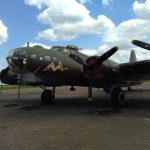 Flying Fortress B17 beside run way. Still flying today!!