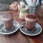 Enjoying hot chocolate on a cold Autumn day