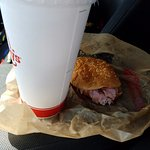 Jr Ham Sandwich and drink