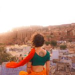 Rooftop overlooking Jodhpur and the nearby fort.