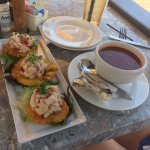 Ceviche served on plantains and hogfish chowder.