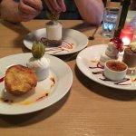 Trio of desserts, white chocolate cheesecake & Apple sponge and ice cream