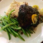 Flat iron steak with au gratin potatoes and frozen green beans