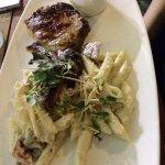 Grilled pork chop, prosciutto mac 'n cheese