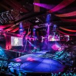 Trapeze net set up in Hippodrome arena