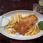 Traditional fish and chips with tartar sauce and mushy peas (all gluten free).