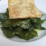 spinach salad with philo sesame toast.