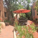 Secluded courtyard within the 3/4 acre prime downtown Santa Fe location of Pueblo Bonito b&b inn