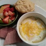 Rosemary Shirred Eggs with Irish Soda Bread, Fruit and Ham