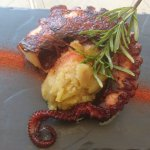 grilled octopus with mashed potatoes
