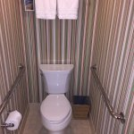 Large bathroom with safety rails in handicapped room