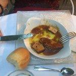 Foie gras en entrée, tarte en dessert