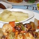 grilled shrimp kabob,boiled yucca with garlic, steamed veggies, fried plantains