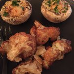 Stuffed mushrooms & fried cauliflower. Portions larger than this ... I 'plated up' for the photo