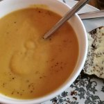 Parsnip soup and Guinness bread - both good.