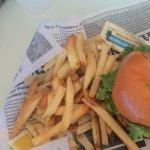 Chicken brats burger