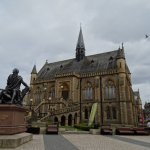 View of the outside with a statue of Robert Burns in the foreground