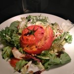 Cous cous, pepper, and goats cheese stuffed beef tomato salad with walnuts and sherry vinaigrett