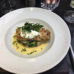 Cod on crushed potatoes with a poached egg