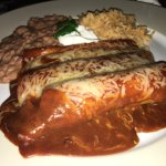 The Marias Enchiladas(4/10) 1 chicken, 1 beef, 1 cheese with red sauce