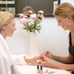 Manicures can be at the manicure table or added to a pedicure or facial on the treatment bed.