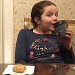 Enjoying cookies and hot chocolate in the club level