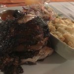 Smoked chicken, macaroni & cheese and coleslaw - delish!