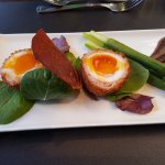 Scotch egg with asparagus, amazing depth of flavour