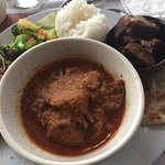 Rendang (beef curry with vegetables and chicken satay)