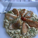 Risotto was good but fish was very dry.