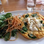 Crabmeat frittata with baby spinach salad - Cafe B's