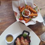 CRISPY HALLOUMI FRIES and PIGS IN BLANKETS