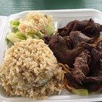 Beef teriyaki plate lunch (note saiman noodles under beef)